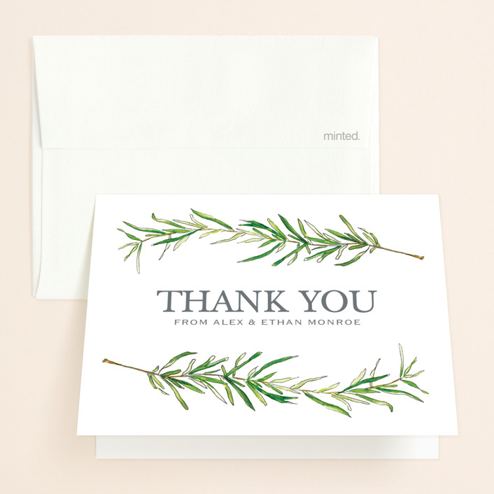"""""""Simple Sprigs"""" - Thank You Cards in Fern by Erin Deegan."""