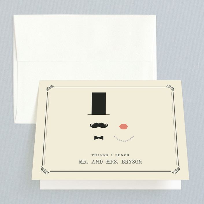 """""""Stache + Kiss"""" - Whimsical & Funny, Vintage Thank You Cards in Creme by Penelope Poppy."""