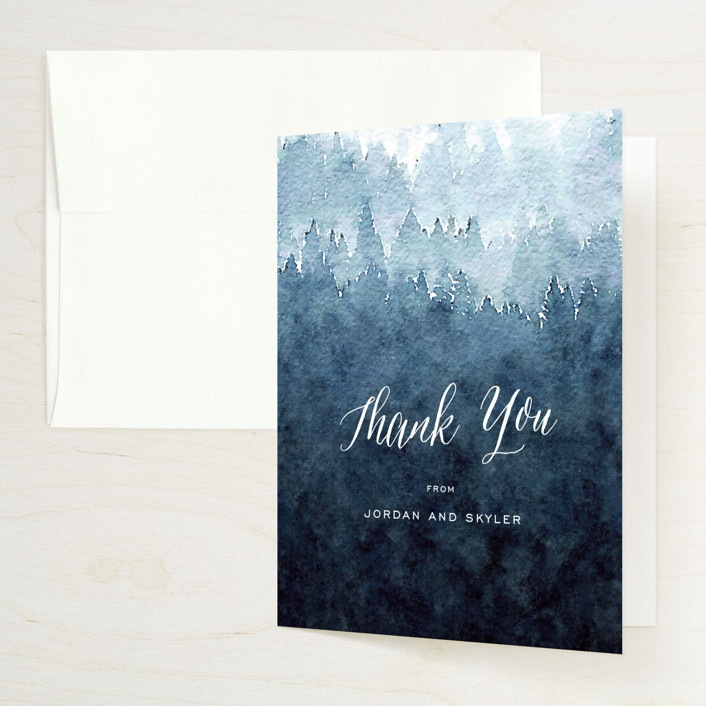 """Mountain Retreat"" - Destination, Modern Thank You Cards in Evening Sky by Design Lotus."