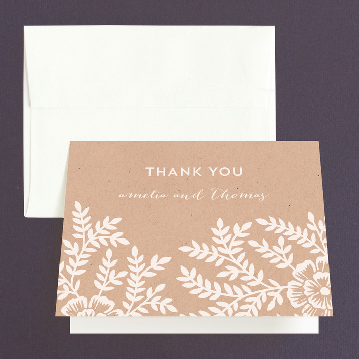 """""""Leaves and Kraft"""" - Rustic, Floral & Botanical Thank You Cards in Kraft by Katharine Watson."""