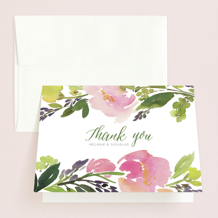 """""""Watercolor Floral"""" - Thank You Cards in Olive by Yao Cheng."""