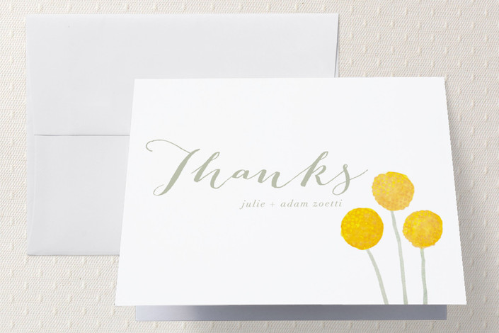 """""""Billy Ball"""" - Simple, Floral & Botanical Thank You Cards in Sage by Penelope Poppy."""