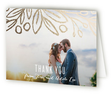 Midnight Foliage Foil-Pressed Thank You Cards