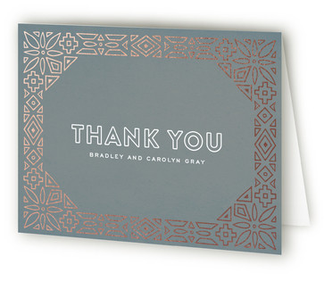 Geometric Border Foil-Pressed Thank You Cards