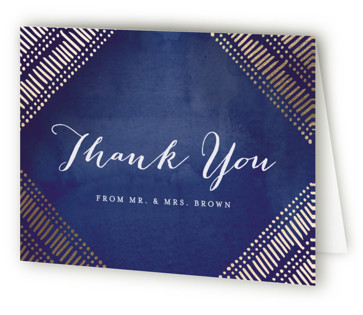 Indigo Print Foil-Pressed Thank You Cards