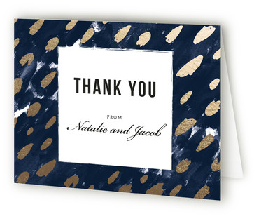 Midnight And Gold Foil-Pressed Thank You Cards