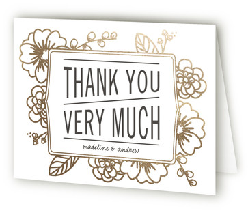 Modern Botanicals Foil-Pressed Thank You Cards