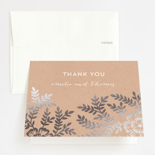 """""""Leaves and Kraft"""" - Rustic, Floral & Botanical Foil-pressed Thank You Cards in Warm Kraft by Katharine Watson."""