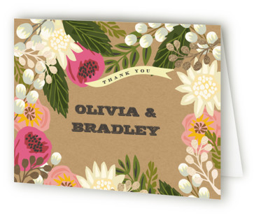 Floral Canopy Foil-Pressed Thank You Cards