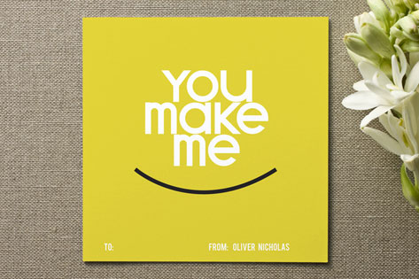 You make me smile Valentine's Day Cards