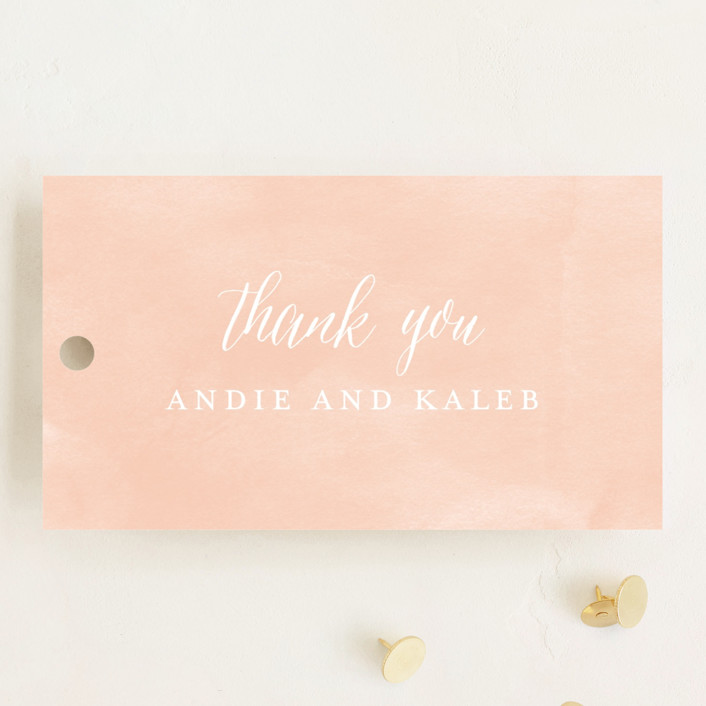 """""""Monogram Floral"""" - Monogrammed, Floral & Botanical Wedding Favor Tags in Peach by Lori Wemple."""