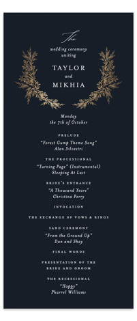 etched wreath Foil-Pressed Wedding Programs