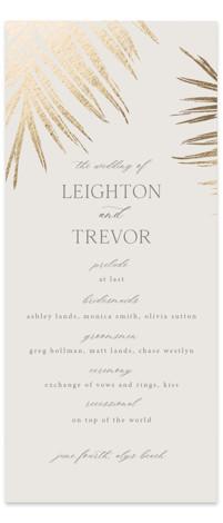 Gilded Palm Foil-Pressed Wedding Programs