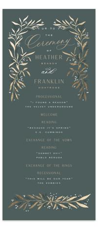 Gilded Foil-Pressed Wedding Programs