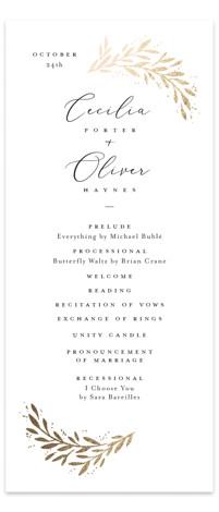 Vine + Pen Foil-Pressed Wedding Programs