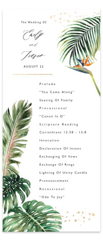 Our Paradise Foil-Pressed Wedding Programs