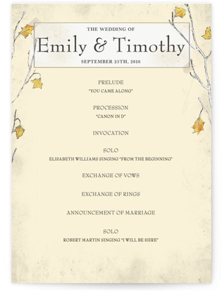 Fall Tranquility Wedding Programs
