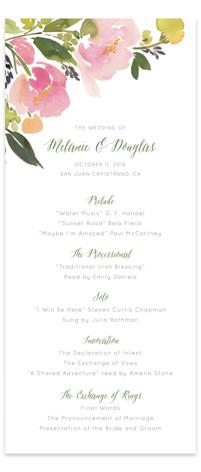 Watercolor Floral Wedding Programs