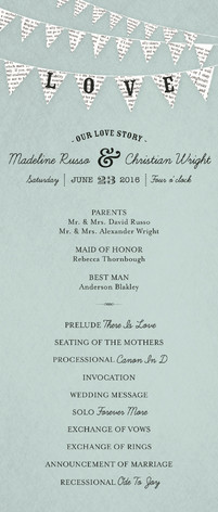 Love Story Wedding Programs