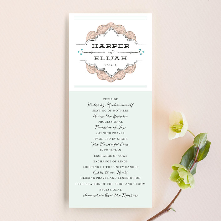 """""""Striped Sweet Nothings"""" - Preppy, Vintage Unique Wedding Programs in Romantic by Frooted Design."""