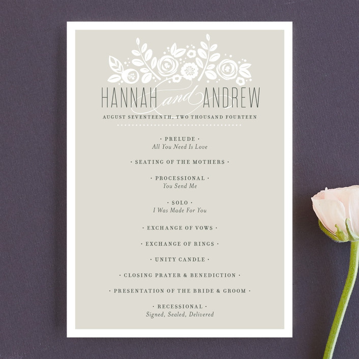 """""""White Shadows"""" - Formal, Floral & Botanical Unique Wedding Programs in Champagne by Jessica Williams."""