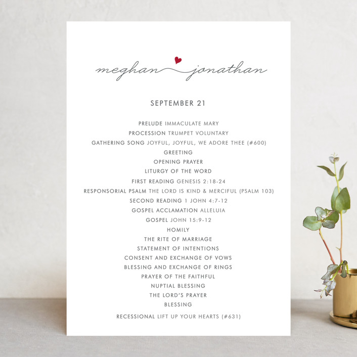 """Love Connection"" - Modern Unique Wedding Programs in Red Hot by Kim Dietrich Elam."
