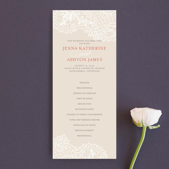 """White Lace"" - Vintage, Elegant Unique Wedding Programs in Coral Rose by Lauren Chism."