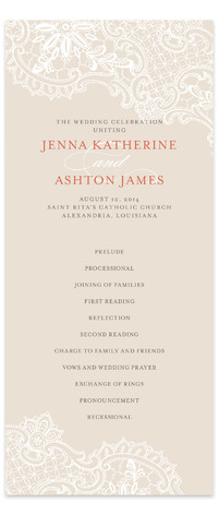 White Lace Wedding Programs