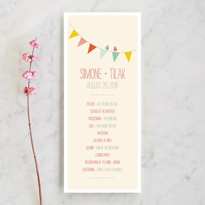 """Barn Party!"" - Rustic, Modern Unique Wedding Programs in Peach by ZucchiniPress."