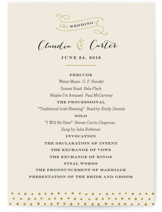 Milkglass Border Wedding Programs
