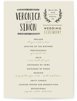 Organic Elegance Wedding Programs