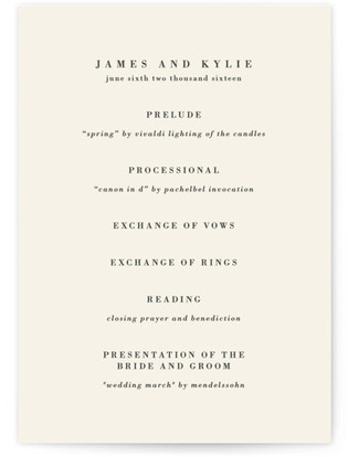 Classically Stated Wedding Programs