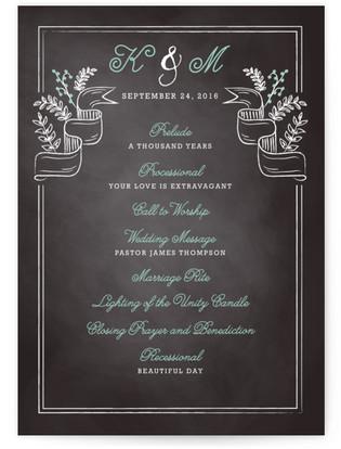 Floral Chalkboard Wedding Programs