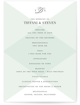 Overlapping Triangles Wedding Programs