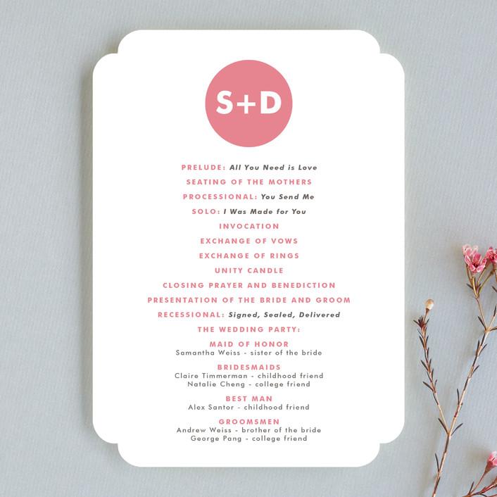 """Mod Monogram"" - Simple, Modern Unique Wedding Programs in Strawberry by Waui Design."