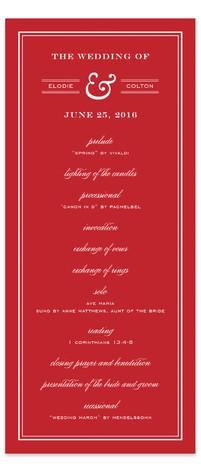 Country Club Wedding Programs