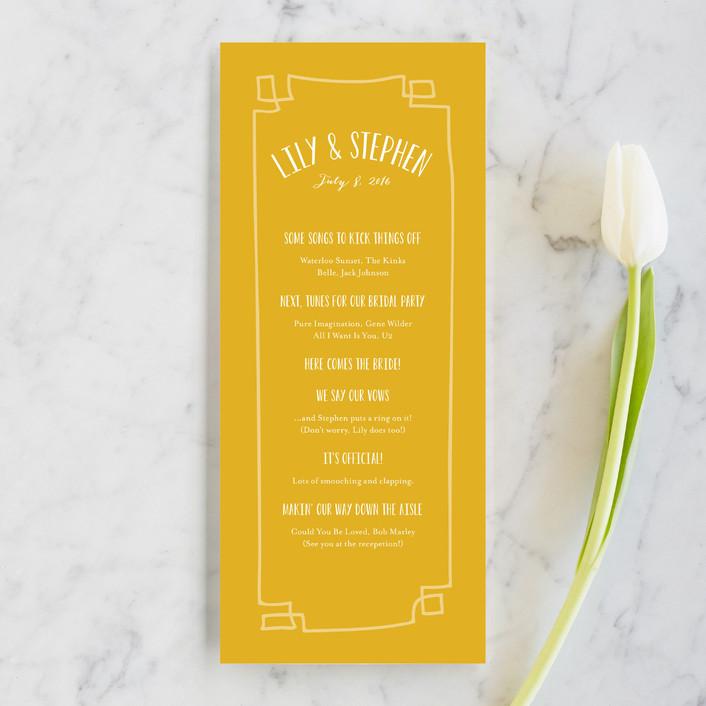 """""""Wanderlust"""" - Unique Wedding Programs in Mustard by j.bartyn."""