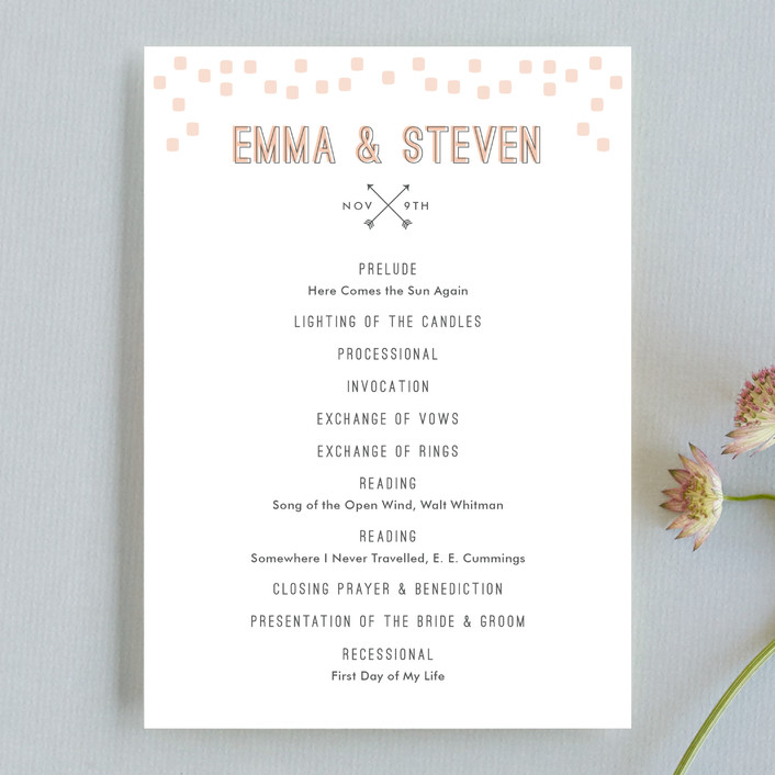 """Arrowhead Pastels"" - Modern, Whimsical & Funny Unique Wedding Programs in Cotton by Stacey Meacham."