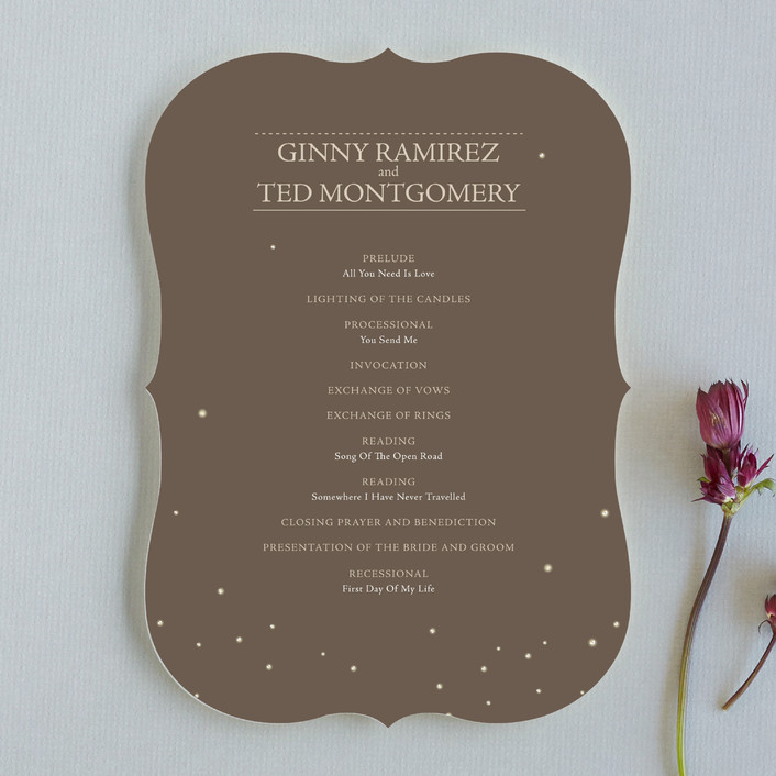 """""""Fireflies"""" - Rustic Unique Wedding Programs in Zuni Brown by cadence paige design."""