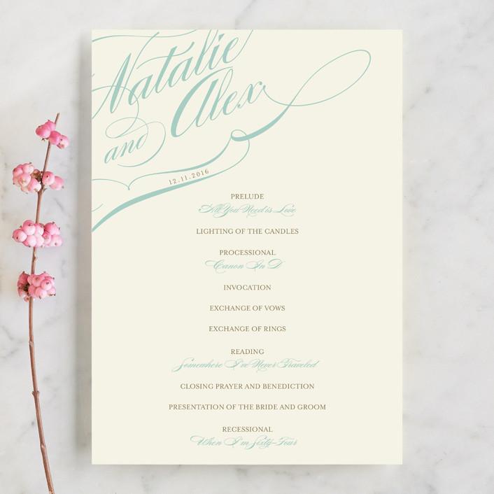 """Winter Flourish"" - Unique Wedding Programs in Sky Blue by annie clark."