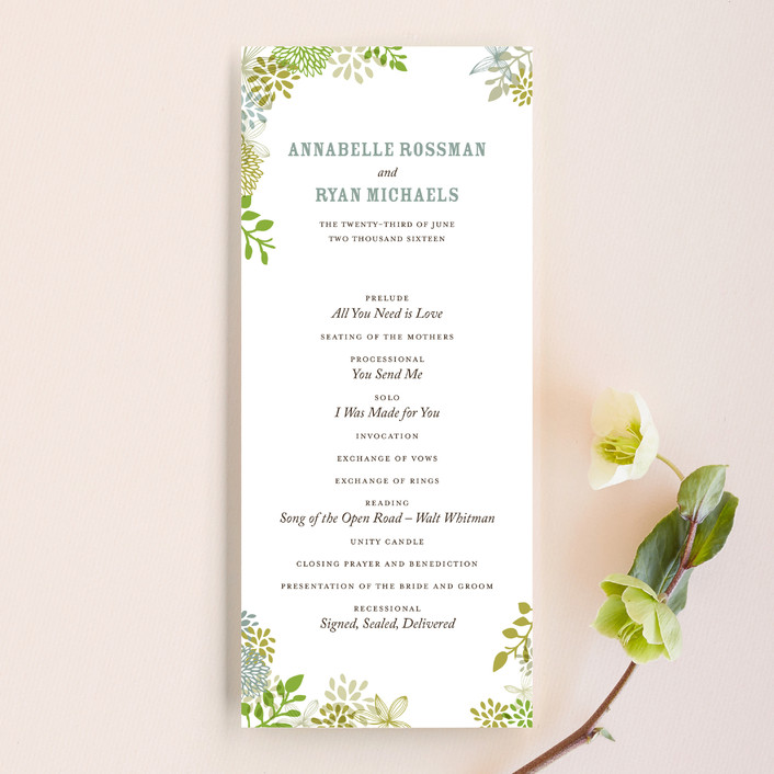 """""""Fling"""" - Hand Drawn, Floral & Botanical Unique Wedding Programs in Clover by Andrea Mentzer."""
