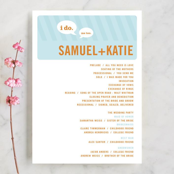"""Smart Conversation"" - Bold typographic Unique Wedding Programs in Pool Blue by pottsdesign."