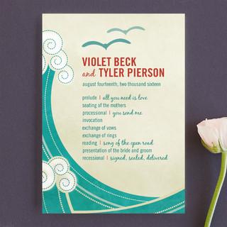 BLOCK PRINT WAVES Unique Wedding Programs