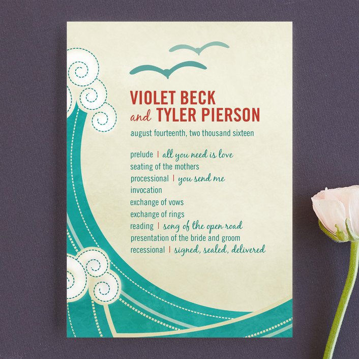 """""""BLOCK PRINT WAVES"""" - Destination, Beach Unique Wedding Programs in Teal by bumble ink."""