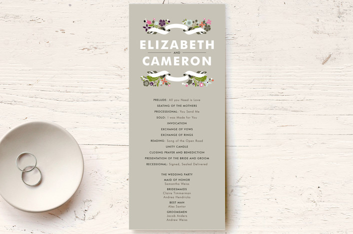 """""""Banner and Branches"""" - Rustic, Floral & Botanical Unique Wedding Programs in Clay Pebble by Alethea and Ruth."""