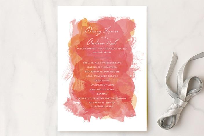 """""""Aquarelle"""" - Beach, Elegant Unique Wedding Programs in Coral by Paper Plains."""