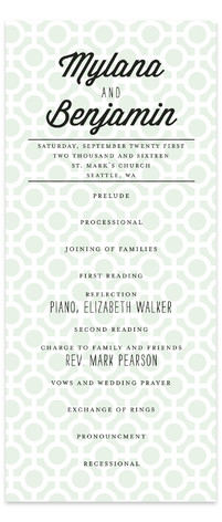 Mod Dots Wedding Programs