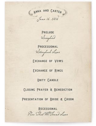 Vintage Letter Wedding Programs