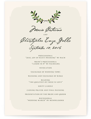 Italiano Wedding Programs