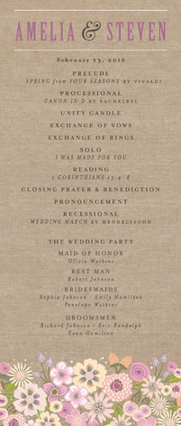 Burlap Bouquet Wedding Programs